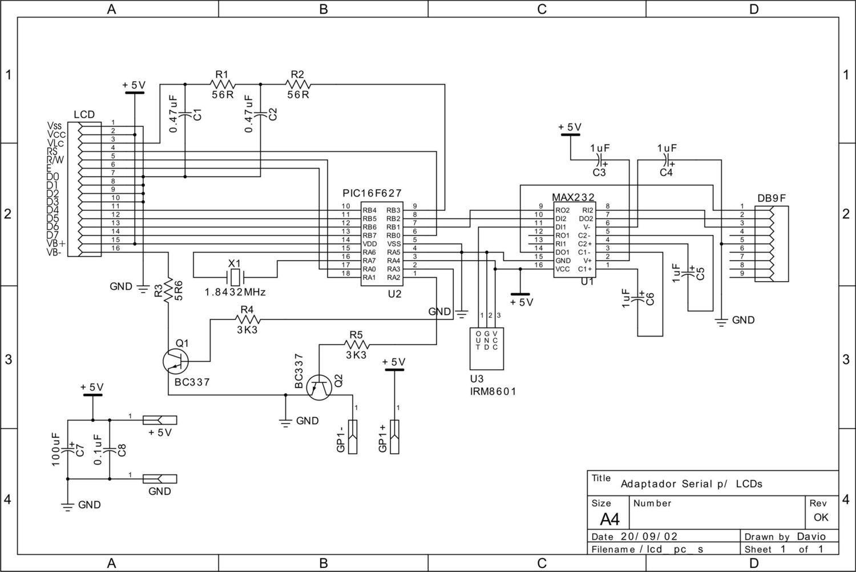 adaptador para la conexi u00f3n por puerto serie de un lcd para
