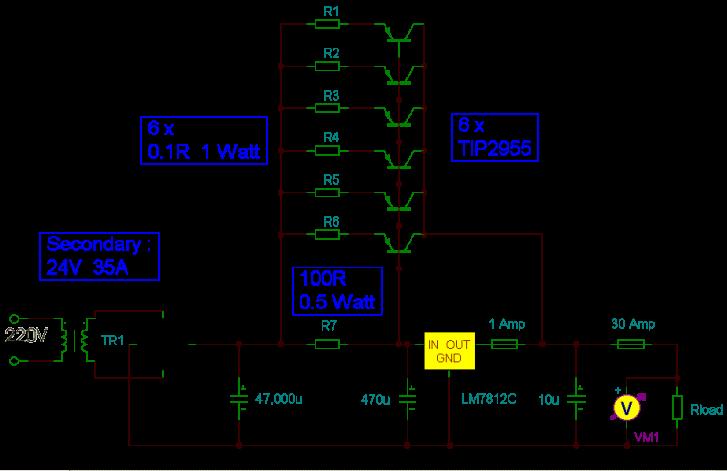 Fuente de alimentación de 12V y 30Amp