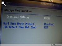 Pantalla de Storage Configuration de la BIOS