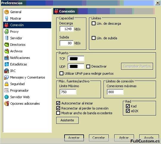 Configuración de conexión en eMule