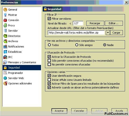 Configuración de seguridad en eMule