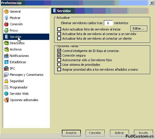 Configuración de servidor en eMule