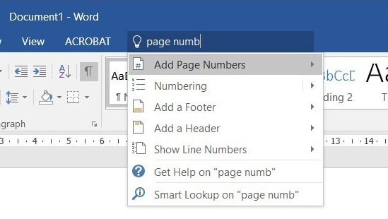 Insert page numbers easily on Office 2016
