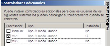 Instalar controladores x86 para impresoras en Windows 2008 Server 64 bit