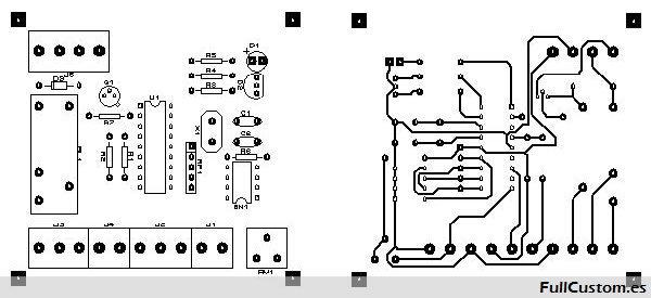 Cara componentes y cara pistas esquema para montar el circuito Senpir